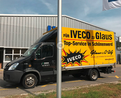 Glaus & Co. AG Mietwagen IVECO Daily Hebebühne