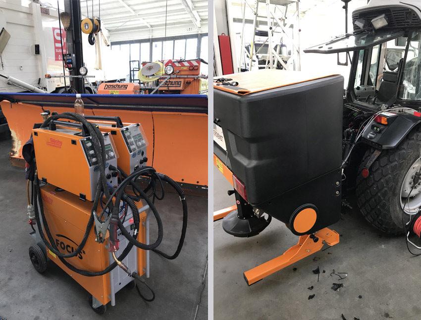 Anbau und Installation von neuen Salzstreuern und Schneepflügen
